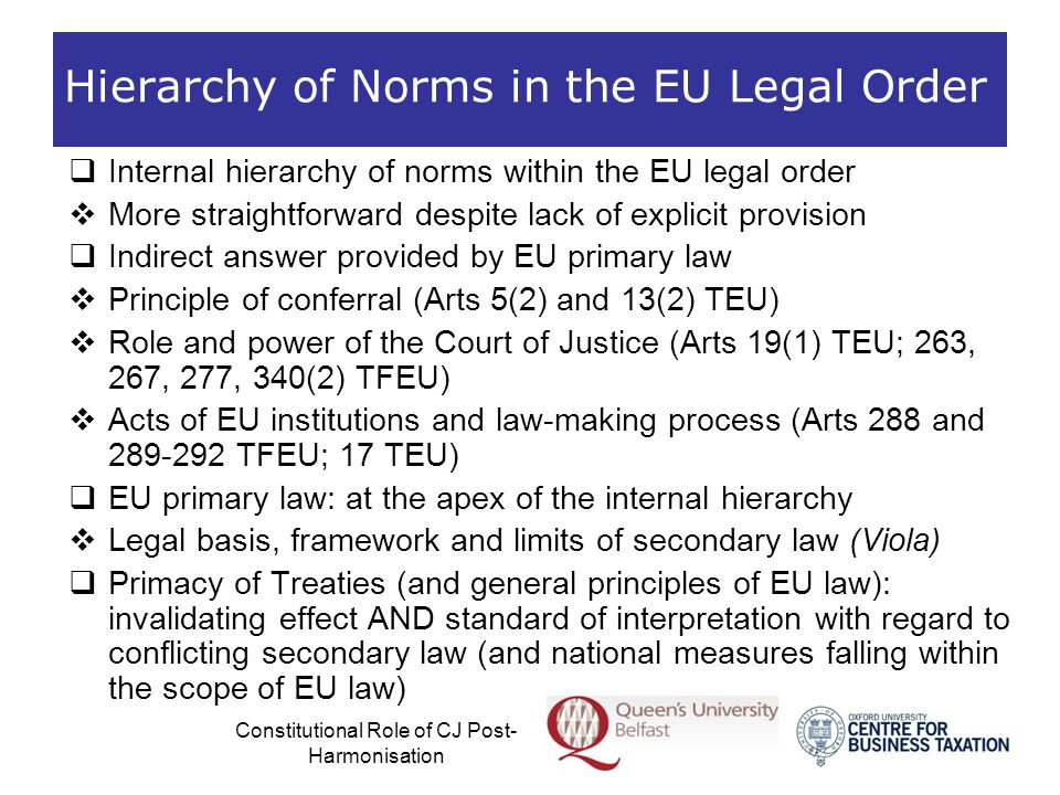 Constitutional Role of CJ Post- Harmonisation The Constitutional Role of the Court of Justice  EU legal order based on the rule of law:  Both the acts of the MS and those of the EU institutions are subject to review by the Court of Justice as to their compliance with the Treaty as the basic constitutional charter and the general principles of EU law (including fundamental rights)  Right of individuals to effective judicial protection of the rights they derive from the EU legal order  Arts 2; and 19(1) TEU  Les Verts; Zwartveld; Opinion 1/91 …