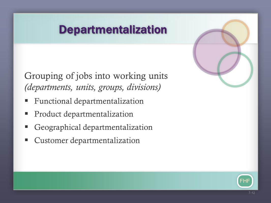 FHF DepartmentalizationDepartmentalization Grouping of jobs into working units (departments, units, groups, divisions)  Functional departmentalizatio