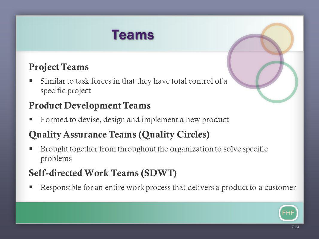 FHF TeamsTeams Project Teams  Similar to task forces in that they have total control of a specific project Product Development Teams  Formed to devi