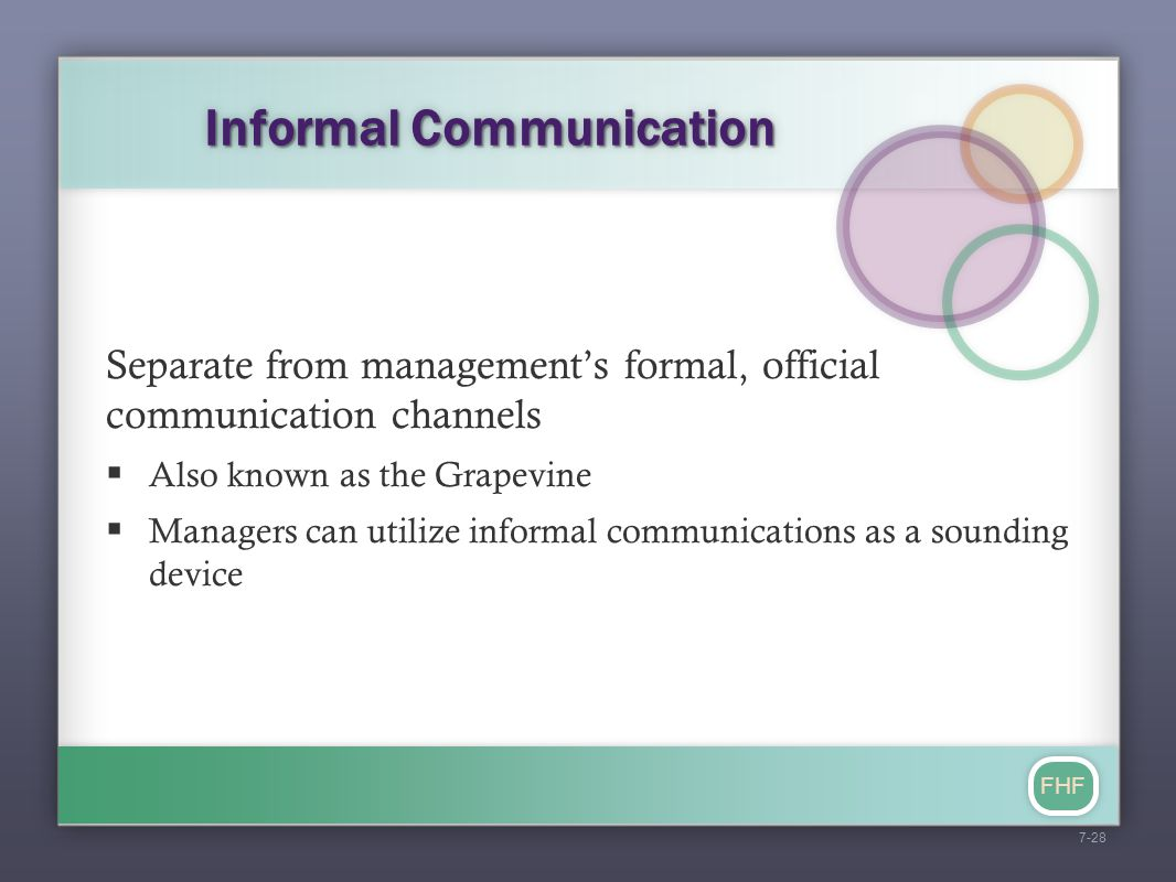 FHF Informal Communication Separate from management's formal, official communication channels  Also known as the Grapevine  Managers can utilize inf