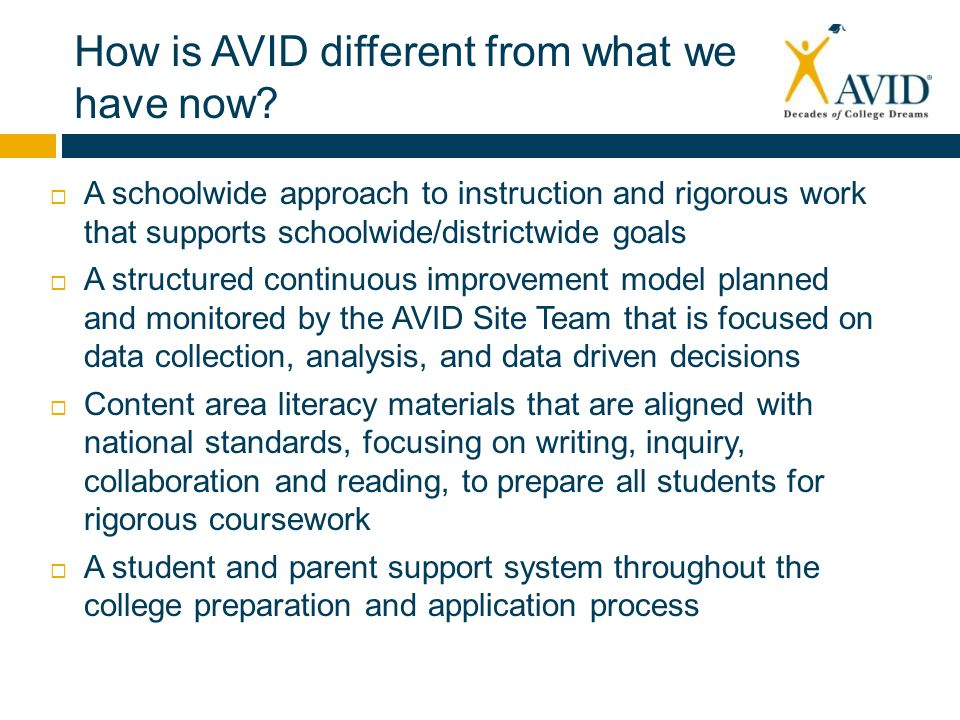 How is AVID different from what we have now.