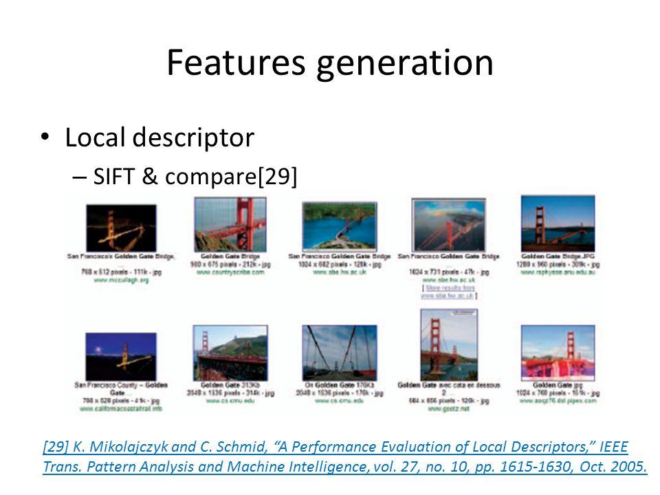 Features generation Local descriptor – SIFT & compare[29] [29] K.