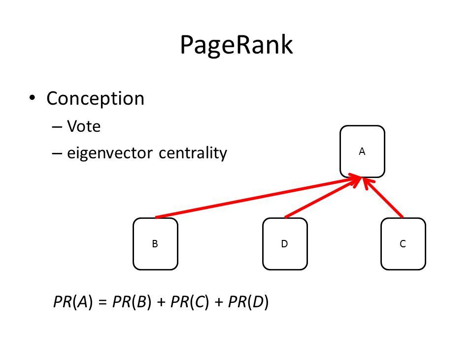 PageRank Conception – Vote – eigenvector centrality A BDC PR(A) = PR(B) + PR(C) + PR(D)