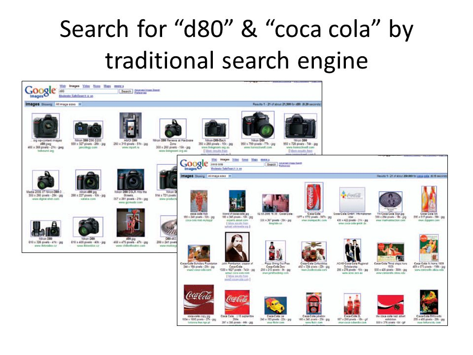 Search for d80 & coca cola by traditional search engine
