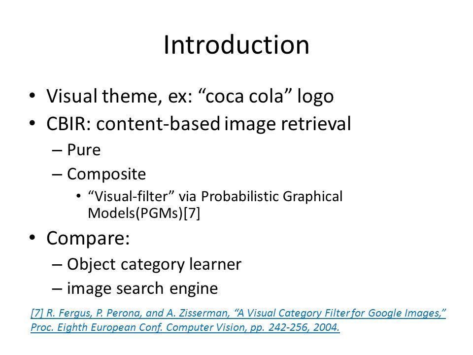"""Introduction Visual theme, ex: """"coca cola"""" logo CBIR: content-based image retrieval – Pure – Composite """"Visual-filter"""" via Probabilistic Graphical Mod"""