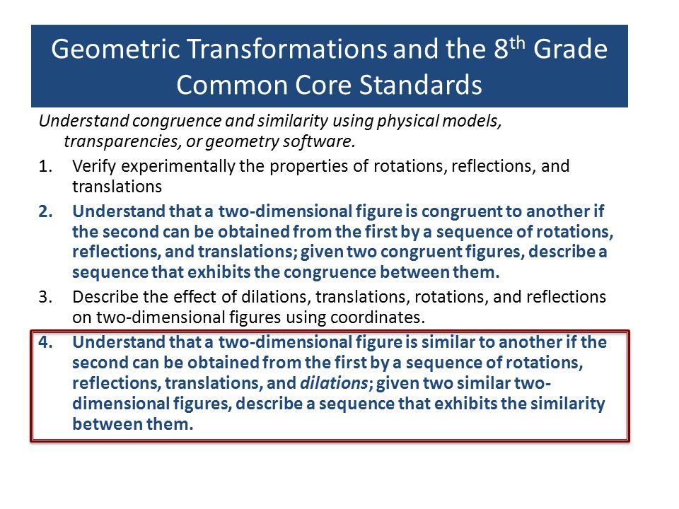 LTG Foundation Module Ten 3-hr Sessions Session 1 A dynamic, transformatio nal view of congruence Session 2 A dynamic, transformati onal view of Similarity Session 3 Relationship Between Dilation and Similarity Session 4 Properties of Dilation Session 5 Preservation of Angles & Proportional Lengths through Dilation Session 6 Ratios Within and Between Similar Figures Session 7 Ratios Within and Between Similar Figures.