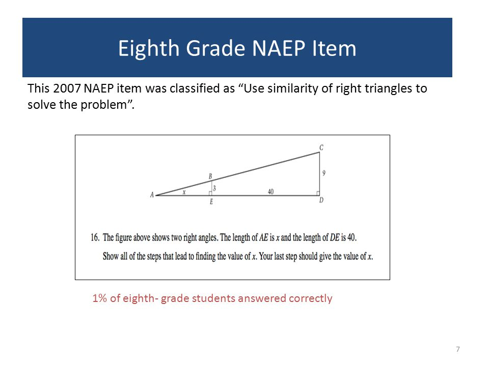 8 Twelfth- Grade NAEP Item This 1992 NAEP item was classified as Find the side length given similar triangle .