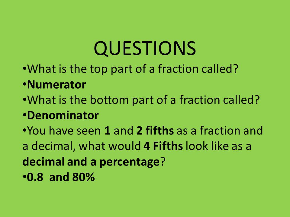 QUESTIONS What is the top part of a fraction called.