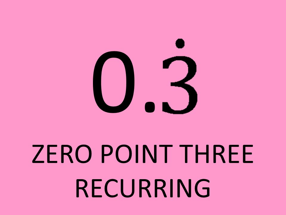 0. ZERO POINT THREE RECURRING