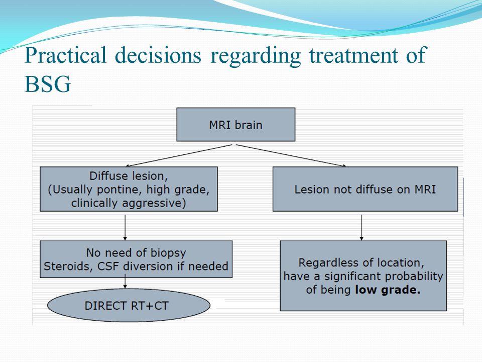 Practical decisions regarding treatment of BSG
