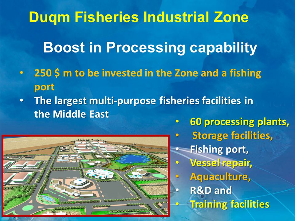 Duqm Fisheries Industrial Zone 250 $ m to be invested in the Zone and a fishing port The largest multi-purpose fisheries facilities in the Middle East The largest multi-purpose fisheries facilities in the Middle East Boost in Processing capability 60 processing plants, 60 processing plants, Storage facilities, Storage facilities, Fishing port, Fishing port, Vessel repair, Vessel repair, Aquaculture, Aquaculture, R&D and R&D and Training facilities Training facilities