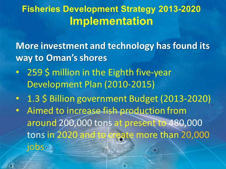 More investment and technology has found its way to Oman's shores 259 $ million in the Eighth five-year Development Plan (2010-2015) 1.3 $ Billion government Budget (2013-2020) Aimed to increase fish production from around 200,000 tons at present to 480,000 tons in 2020 and to create more than 20,000 jobs Fisheries Development Strategy 2013-2020 Implementation