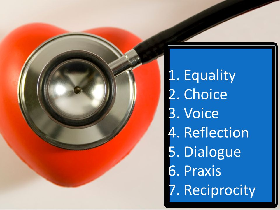 1. Equality 2. Choice 3. Voice 4. Reflection 5. Dialogue 6. Praxis 7. Reciprocity