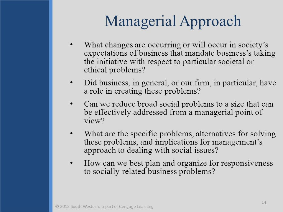 Managerial Approach What changes are occurring or will occur in society's expectations of business that mandate business's taking the initiative with respect to particular societal or ethical problems.