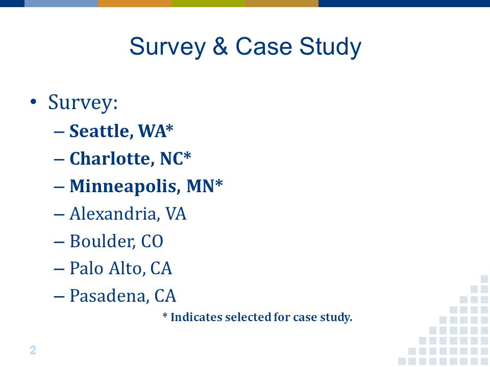 Survey & Case Study Survey: – Seattle, WA* – Charlotte, NC* – Minneapolis, MN* – Alexandria, VA – Boulder, CO – Palo Alto, CA – Pasadena, CA * Indicates selected for case study.