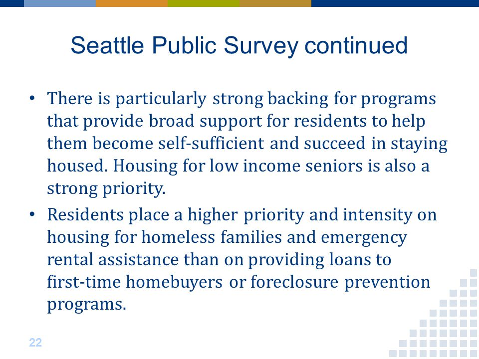 Seattle Public Survey continued There is particularly strong backing for programs that provide broad support for residents to help them become self‐sufficient and succeed in staying housed.