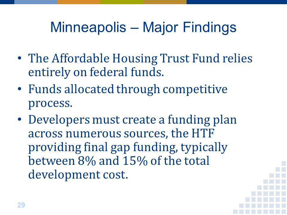Minneapolis – Major Findings The Affordable Housing Trust Fund relies entirely on federal funds.