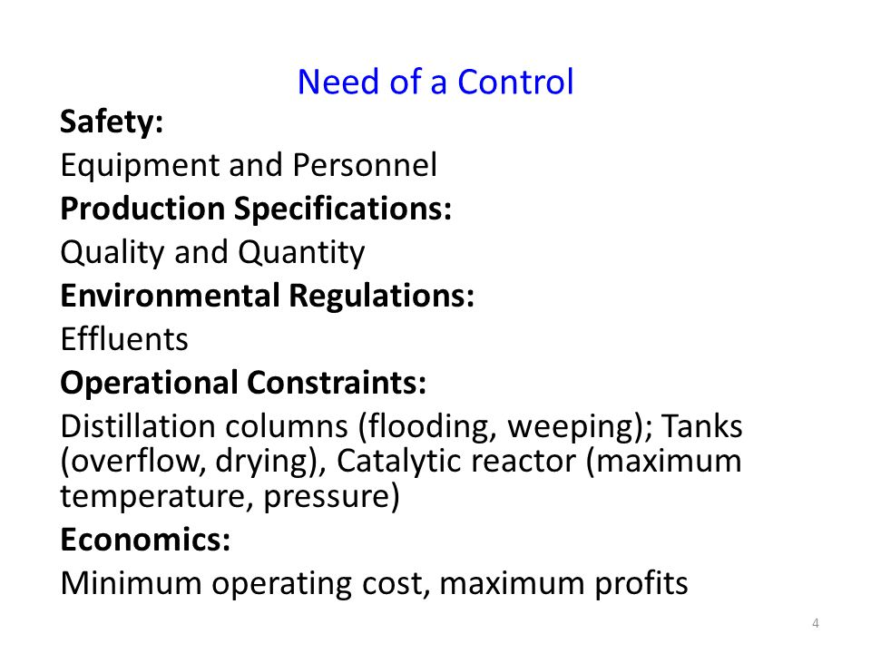 Requirements from a control 1.
