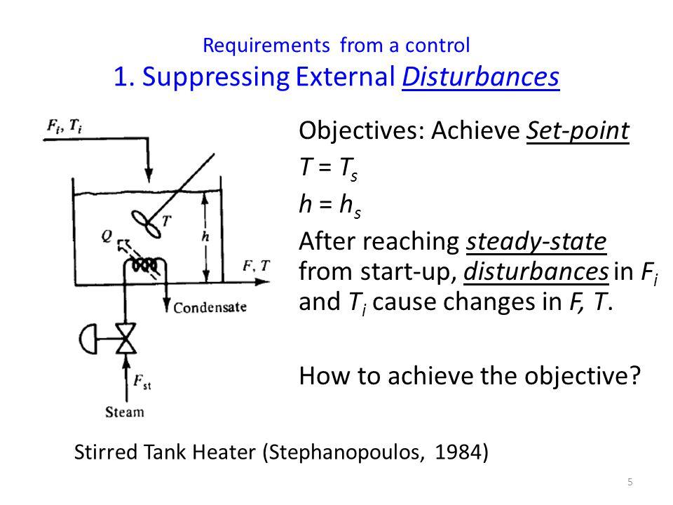 Controlling T in a Stirred Tank Heater 6  measure T  compare measured T with T s  Compute error: e = T s - T e > 0; T s > T (increase F st ) e < 0; T s < T (reduce F st ) Feedback Control in a Stirred Tank Heater (Stephanopoulos, 1984)