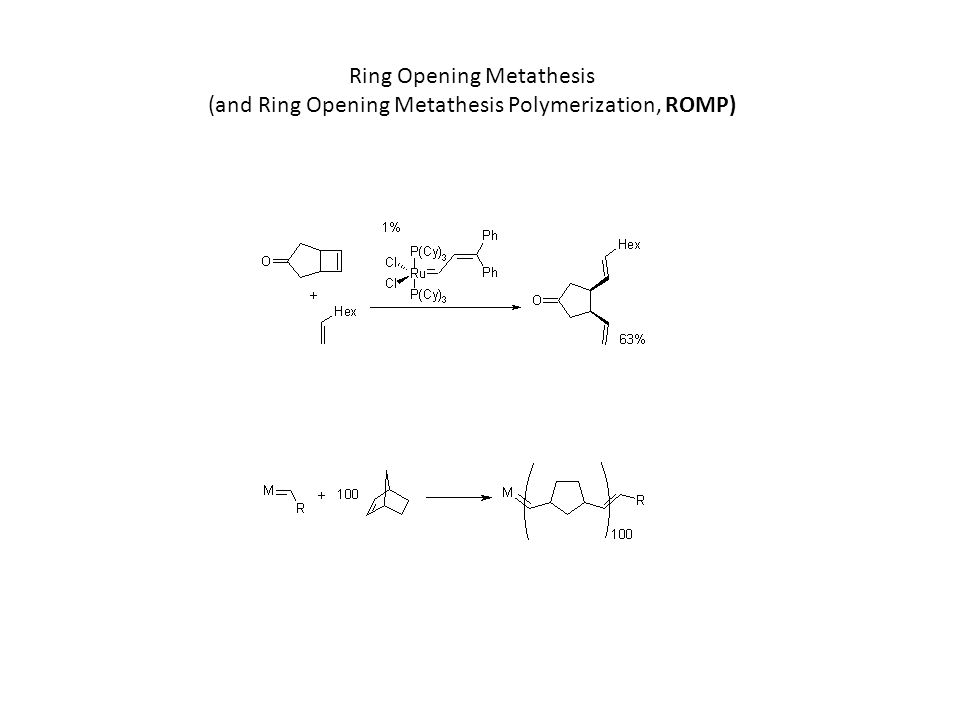 Ring Opening Metathesis (and Ring Opening Metathesis Polymerization, ROMP)