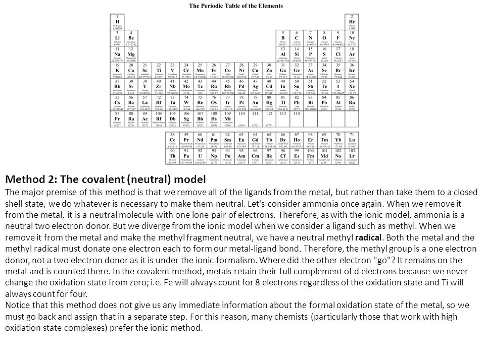 Method 2: The covalent (neutral) model The major premise of this method is that we remove all of the ligands from the metal, but rather than take them to a closed shell state, we do whatever is necessary to make them neutral.