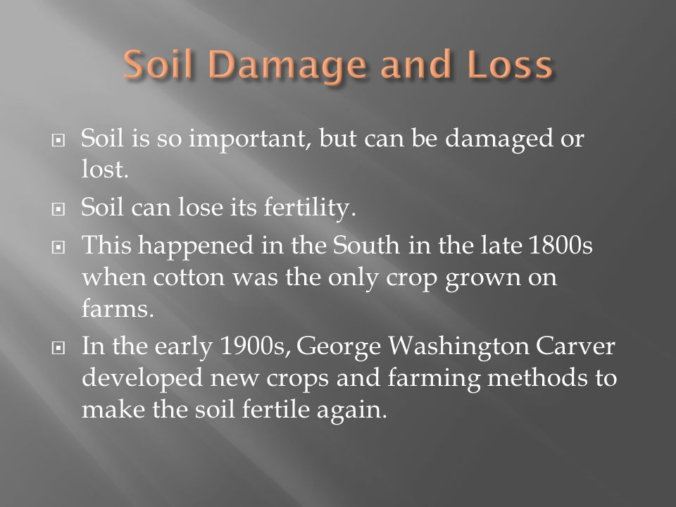  Soil is so important, but can be damaged or lost.  Soil can lose its fertility.  This happened in the South in the late 1800s when cotton was the