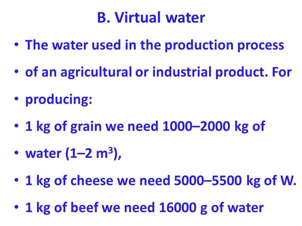 B. Virtual water The water used in the production process of an agricultural or industrial product.