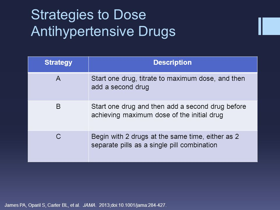 Strategies to Dose Antihypertensive Drugs StrategyDescription AStart one drug, titrate to maximum dose, and then add a second drug BStart one drug and