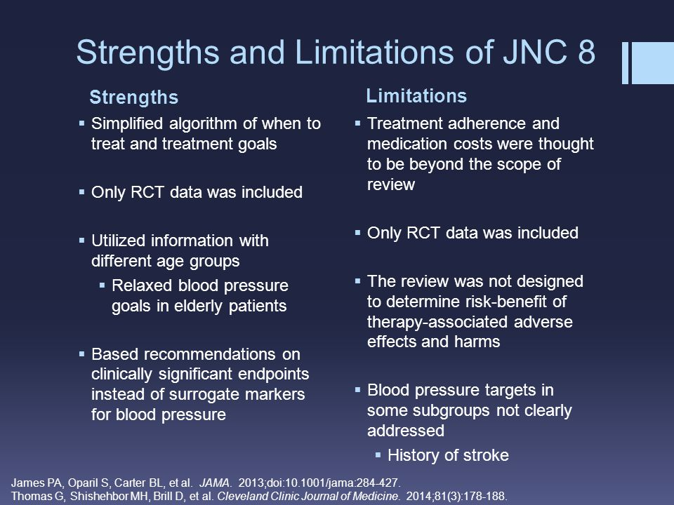 Strengths Limitations Strengths and Limitations of JNC 8  Simplified algorithm of when to treat and treatment goals  Only RCT data was included  Ut