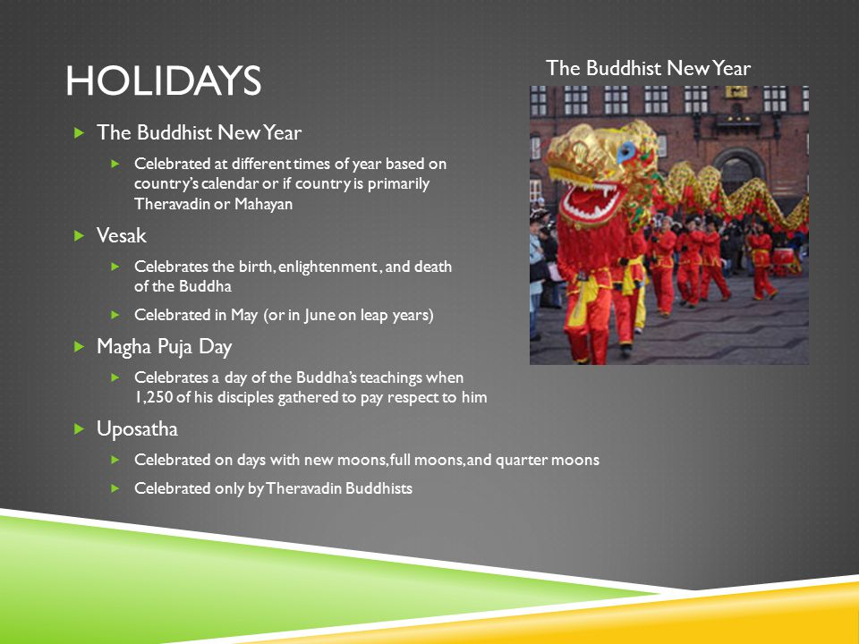 HOLIDAYS  The Buddhist New Year  Celebrated at different times of year based on country's calendar or if country is primarily Theravadin or Mahayan  Vesak  Celebrates the birth, enlightenment, and death of the Buddha  Celebrated in May (or in June on leap years)  Magha Puja Day  Celebrates a day of the Buddha's teachings when 1,250 of his disciples gathered to pay respect to him  Uposatha  Celebrated on days with new moons, full moons, and quarter moons  Celebrated only by Theravadin Buddhists The Buddhist New Year