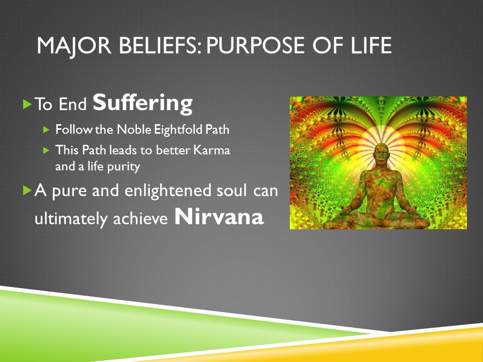 MAJOR BELIEFS: PURPOSE OF LIFE  To End Suffering  Follow the Noble Eightfold Path  This Path leads to better Karma and a life purity  A pure and enlightened soul can ultimately achieve Nirvana