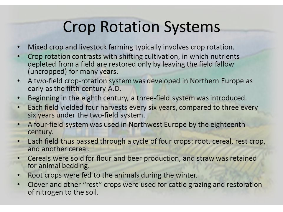 Crop Rotation Systems Mixed crop and livestock farming typically involves crop rotation. Crop rotation contrasts with shifting cultivation, in which n