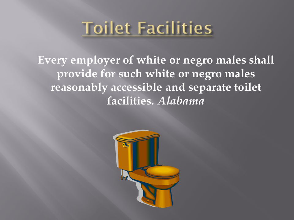 Every employer of white or negro males shall provide for such white or negro males reasonably accessible and separate toilet facilities. Alabama
