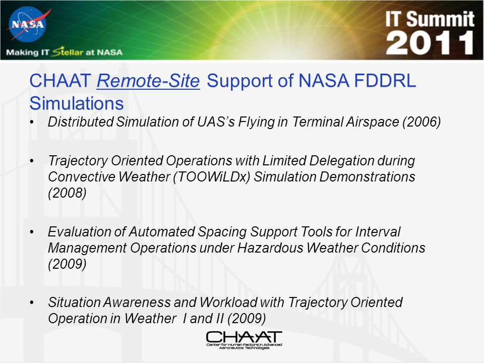 CHAAT Remote-Site Support of NASA FDDRL Simulations Distributed Simulation of UAS's Flying in Terminal Airspace (2006) Trajectory Oriented Operations with Limited Delegation during Convective Weather (TOOWiLDx) Simulation Demonstrations (2008) Evaluation of Automated Spacing Support Tools for Interval Management Operations under Hazardous Weather Conditions (2009) Situation Awareness and Workload with Trajectory Oriented Operation in Weather I and II (2009)