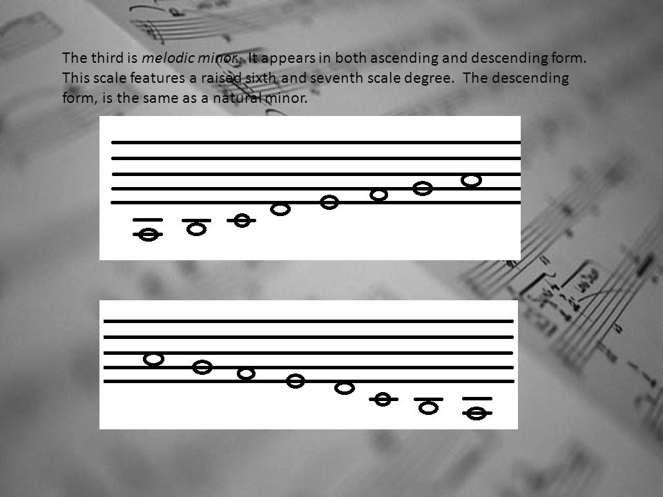 The third is melodic minor.It appears in both ascending and descending form.