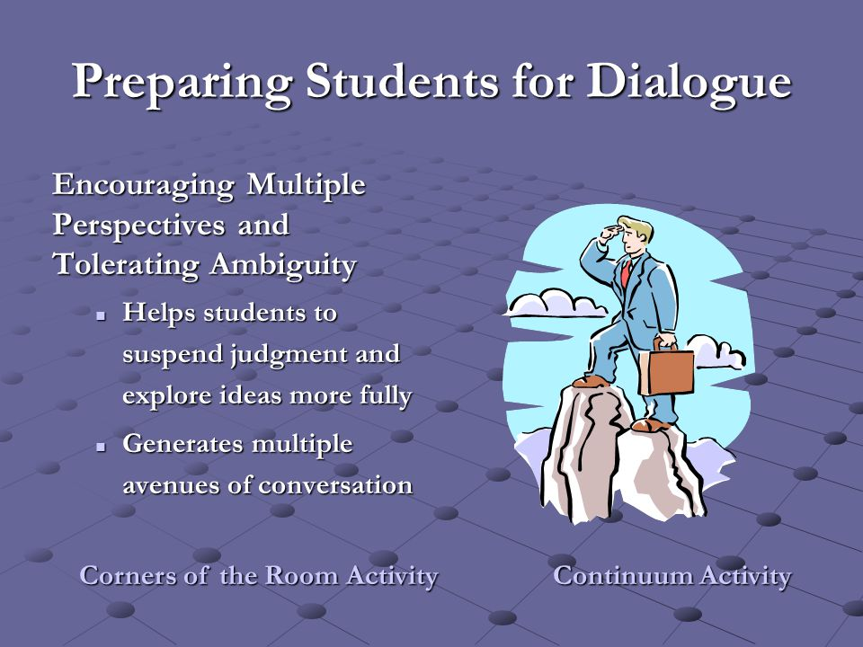 Preparing Students for Dialogue Encouraging Multiple Perspectives and Tolerating Ambiguity Helps students to suspend judgment and explore ideas more f