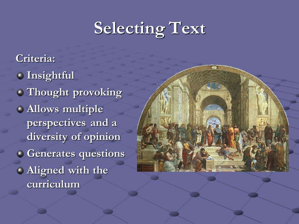 Selecting Text Criteria:Insightful Thought provoking Allows multiple perspectives and a diversity of opinion Generates questions Aligned with the curr