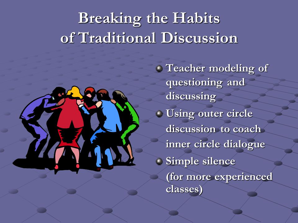 Breaking the Habits of Traditional Discussion Teacher modeling of questioning and discussing Using outer circle discussion to coach inner circle dialo