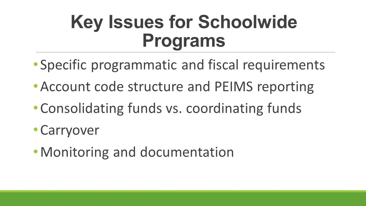 Key Issues for Schoolwide Programs Specific programmatic and fiscal requirements Account code structure and PEIMS reporting Consolidating funds vs.