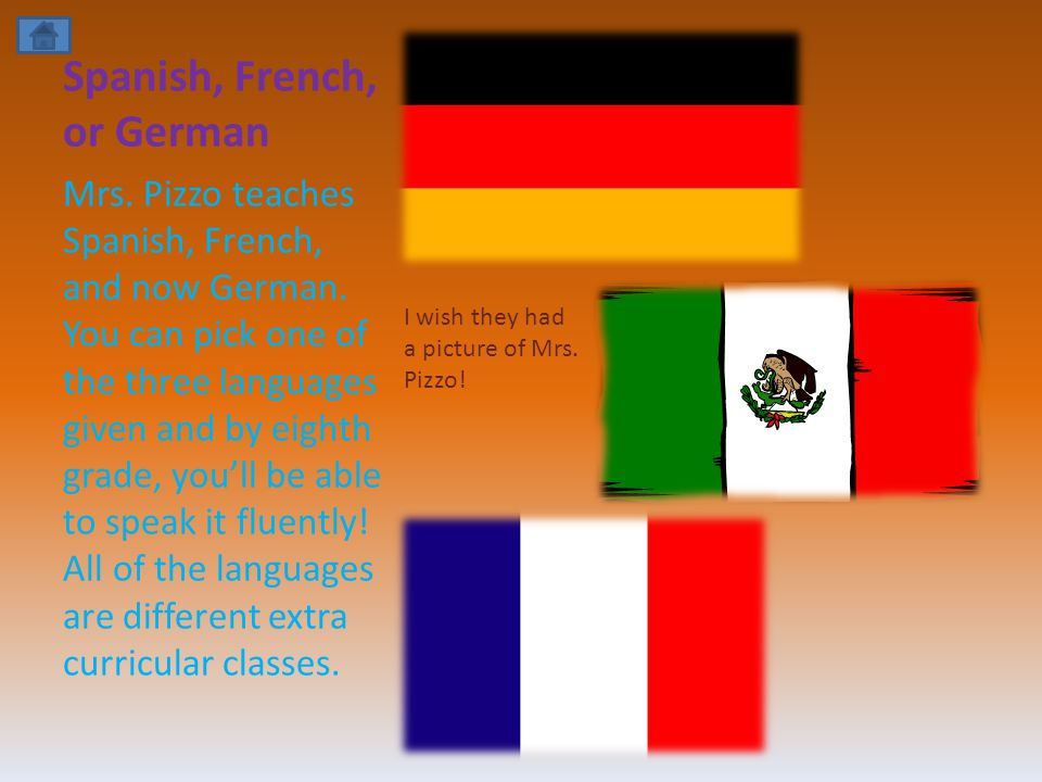 Spanish, French, or German Mrs. Pizzo teaches Spanish, French, and now German.