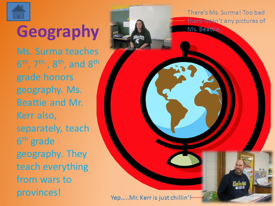 Geography Ms. Surma teaches 6 th, 7 th, 8 th, and 8 th grade honors geography.
