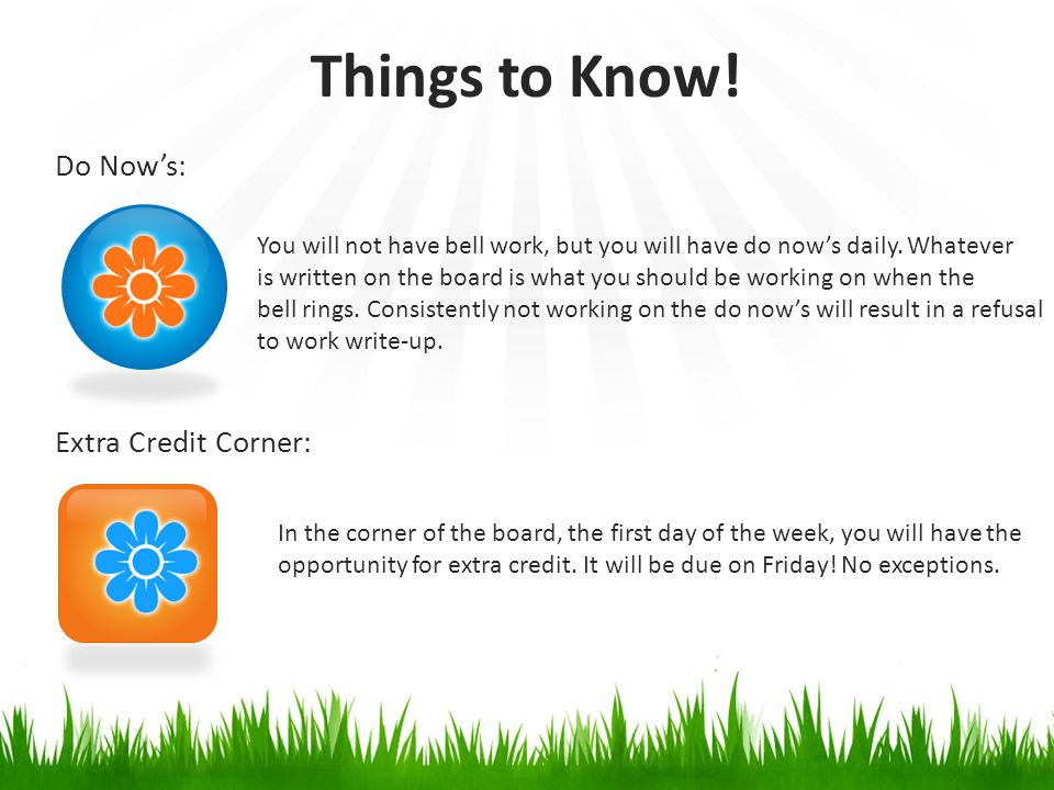Do Now's: Extra Credit Corner: Things to Know.