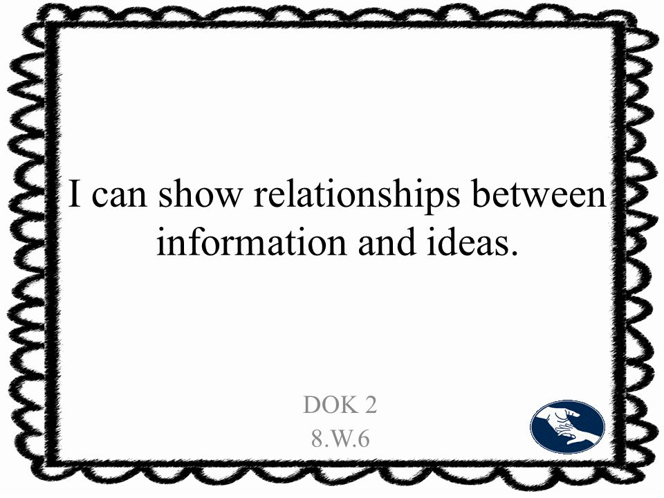 I can show relationships between information and ideas. DOK 2 8.W.6