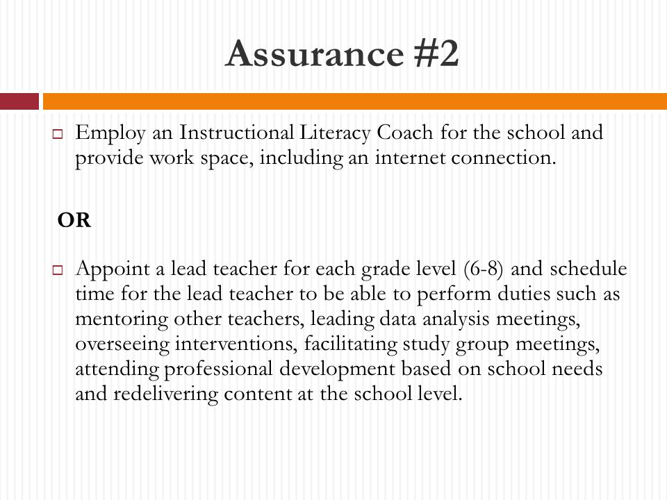 Assurance #2  Employ an Instructional Literacy Coach for the school and provide work space, including an internet connection.