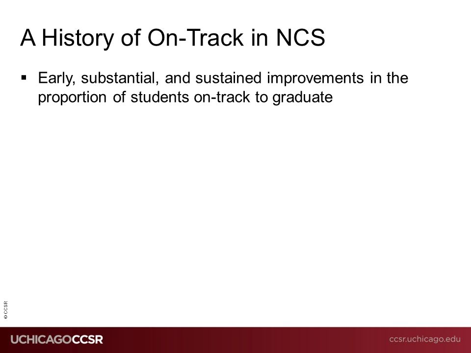 © CCSR  Early, substantial, and sustained improvements in the proportion of students on-track to graduate A History of On-Track in NCS
