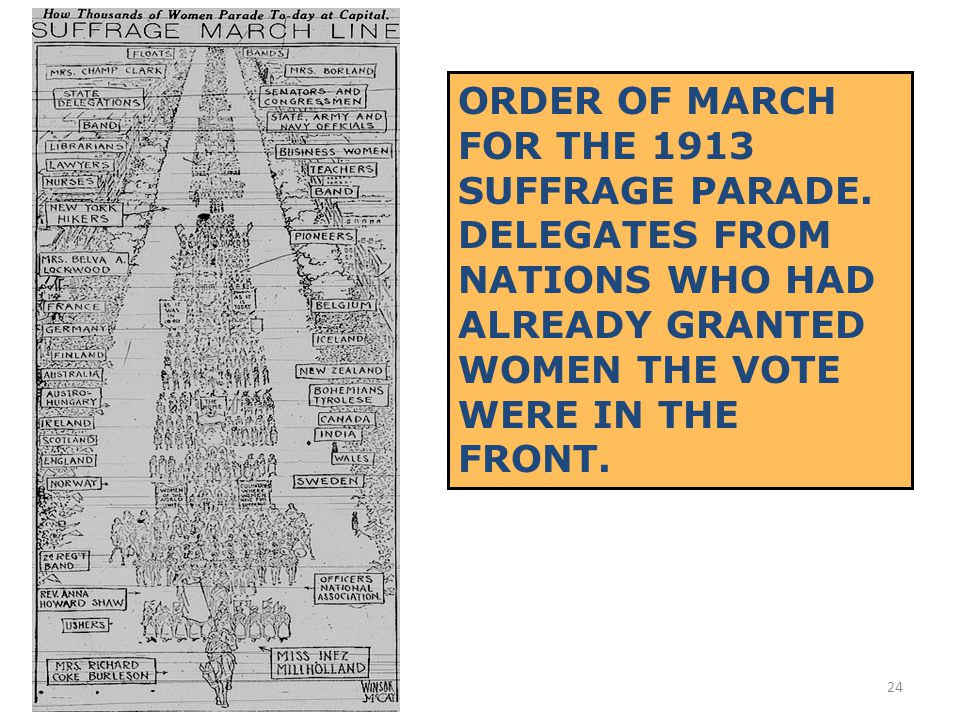 23 ALICE PAUL AND LUCY BURNS ORGANIZED A PROTEST PARADE TO COINCIDE WITH PRESIDENT WILSON'S INAUGURATION IN MARCH 1913