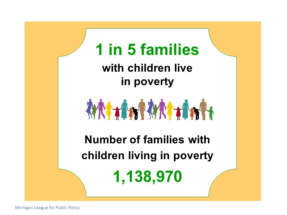 1 in 5 families with children live in poverty Number of families with children living in poverty 1,138,970 Michigan League for Public Policy