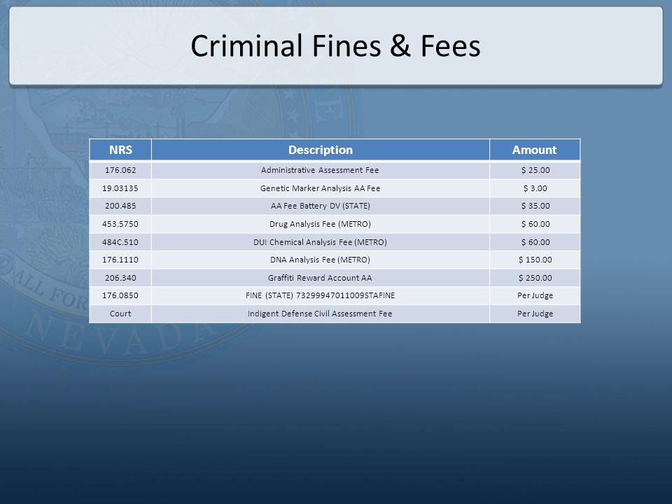 OFFICIAL FEES FOR THE EIGHTH JUDICIAL DISTRICT COURT Effective October 1, 2013 NRSDescriptionAmount Adoptions When filing a new Adoption proceeding NRS 19.013 ($56), 19.020 ($3), 19.031 ($25), 19.0312 ($10), 19.0313 ($10), 19.0315 ($15), AB 65 ($99), CCC 2.32 ($20) $ 238.00 When filing a new Adoption proceeding for a special needs child pursuant to NRS 19.034 $1.00 Answer or Appearance When a defendant/respondent answers (files a first appearance to) a Complaint/Petition; to be paid upon the filing of the first paper in the action for Civil cases and Domestic cases not contained in NRS 125 NRS 19.013 ($44), 19.031 ($25), 19.0312 ($10), 19.0313 ($10), 19.0315 ($15), AB 65 ($99), CCC 2.32 ($20) $223.00 For each additional defendant named in a civil answer or first appearance (See *Examples on page 3) NRS 19.0335 ($30) $30.00 When a defendant answers an action for constructional defect or any other action defined as complex NRS 19.013 ($44), 19.031 ($25), 19.0312 ($10), 19.0313 ($10), 19.0315 ($15), AB 65 ($349), CCC 2.32 ($20) $473.00 When a defendant answers a business court filing NRS 19.013 ($44), 19.031 ($25), 19.0312 ($10), 19.0313 ($10), 19.0315 ($15), AB 65 ($1,359), CCC 2.32 ($20) $1,483.00 Divorce, Annulment, Separate Maintenance answer or first appearance NRS 19.013 ($44), 19.031 ($14), 19.0312 ($10), 19.0313 ($10), 19.0315 ($15), CCC 2.32.030 ($5), AB 65 ($99), CCC 2.32 ($20) $217.00 Child Custody answer or first appearance NRS 19.013 ($44), 19.031 ($14), 19.0313 ($10), 19.0315 ($15), 19.0312 ($10) AB 65 ($99), CCC 2.32 ($20) $212.00 Appeal from a Justice or Municipal Court When filing an appeal from a Justice Court or Municipal Court NRS 19.013 ($42), 19.020 ($5) $47.00 Appeal/Supreme Court When filing a Notice of Appeal NRS 19.013 ($24) $24.00 Bonds for Costs on Appeal$500.00 Supreme Court Appeal filing fee (payable to the Clerk of the Supreme Court)$250.00 Complaints Annulment or Separate Maintenance When filing a Complaint for Annulment or a Complaint f