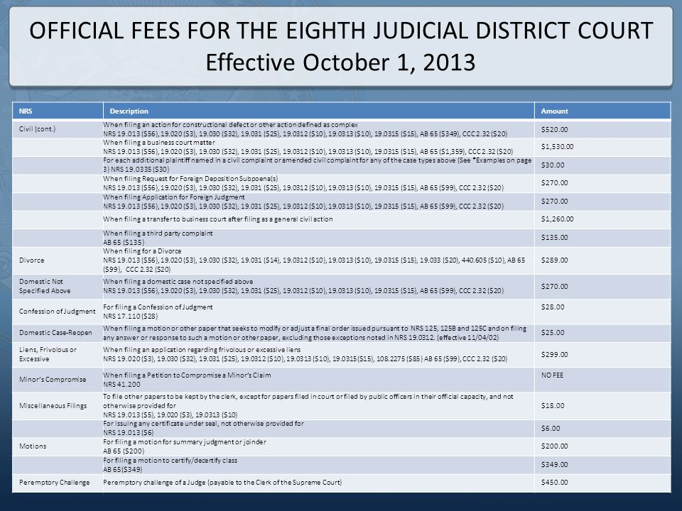 OFFICIAL FEES FOR THE EIGHTH JUDICIAL DISTRICT COURT Effective October 1, 2013 NRSDescriptionAmount Civil (cont.) When filing an action for constructi