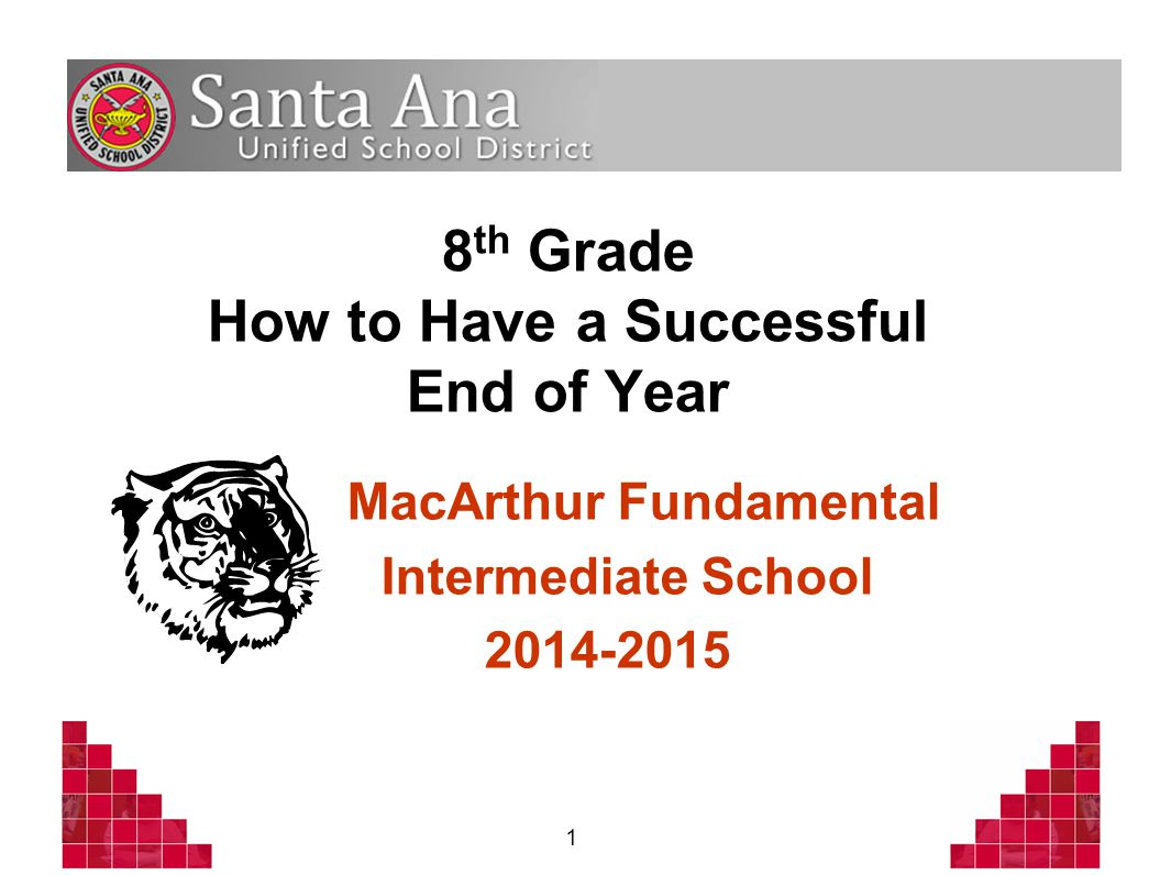 1 8 th Grade How to Have a Successful End of Year MacArthur Fundamental Intermediate School 2014-2015
